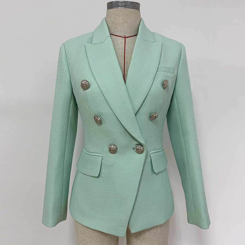 Elegant Designer Blazer Women's Classic Lion Buttons Double Breasted Blazer Office Lady Mint Green Casual Jacket