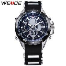 WEIDE Relógios Men Quartz Completa Aço Mergulhador Dos Homens Do Exército Militar Sports Watch Silicone Strap Marca de Luxo LCD Back Light relógio de pulso
