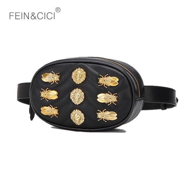 Waist bag women lion rivets Waist Fanny Pack bags luxury brand fashion leather belt handbag red black 2018 new hight quality