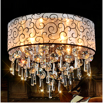 Modern Drum Shade Lustre K9 Crystal Chandeliers Fabric Ceiling Lamps Home  Decorative Flushmount Light Fixtures Luminaire