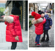 2016 Мода Девушки мальчика Вниз куртки/пальто зима Россия детские Пальто толстая утка Теплая куртка Детей Outerwears-30 градусов jacke