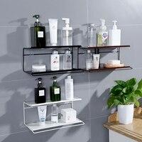 Wrought iron double shelf bathroom wall mounted cosmetics storage rack towel rack free punching bathroom wash rack LO523458