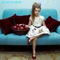 Oso Líder Muchachas de la Marca 2016 Nuevo Estilo Informal de Verano vestido de Las Muchachas de la Historieta de Impresión de Tinta Del Arco Princesa de Las Muchachas Vestido de Fiesta vestido