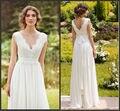 2016 moda de nova chegada V pescoço da luva do tampão Chiffon Lace A linha do marfim vestidos de baile elegante longo pavimento Length Prom Formal vestidos N1