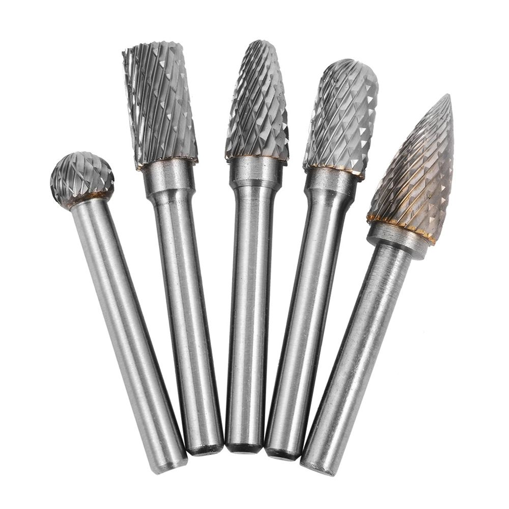 New Style 5x Tungsten Carbide Rotary Cutting Burr Set Grinder Bit 1/4 inch (6mm) Shank 10mm Chamfering Carving Tools Silver 8pcs 1 4 shank tungsten carbide burrs double cut carbide burr die grinding drill bit for rotary power tool