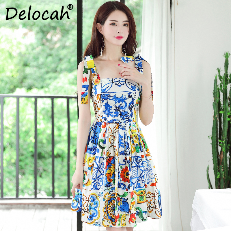 Delocah New Fashion Designer 100 Cotton Summer Dress Women Bow Spaghetti Strap Vintage Gorgeous Floral Print
