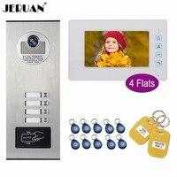 7 JERUAN Polegada Entrada de Vídeo Campainha Da Porta Telefone Intercom Sistema Kit Câmera HD Monitor de Acesso RFID 4 Branco/5 /6/8/10/12 apartamentos|Interfone com câmera| |  -