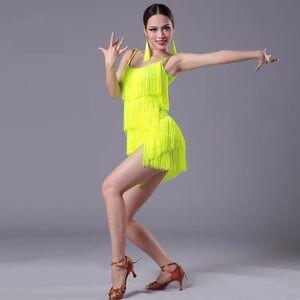 Image 4 - 2020 neue Mädchen Kinder erwachsene Moderne Ballroom Latin Dance Kleid quaste Fringe Salsa Tango Dance Tragen Schwarz Leistung Bühne Tragen