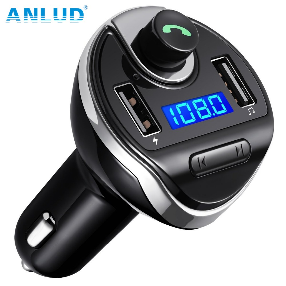 ANLUD Bluetooth FM Transmitter Wireless MP3 Player Radio Transmitter Car Charger with Dual USB Ports HandsFree Bluetooth Car Kit