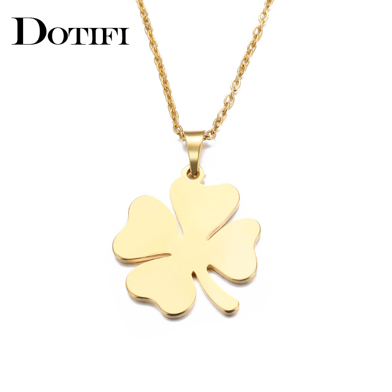 DOTIFI Stainless Steel Necklace For Women Man Lovers Clover Gold And Silver Color Pendant Necklace Engagement Jewelry