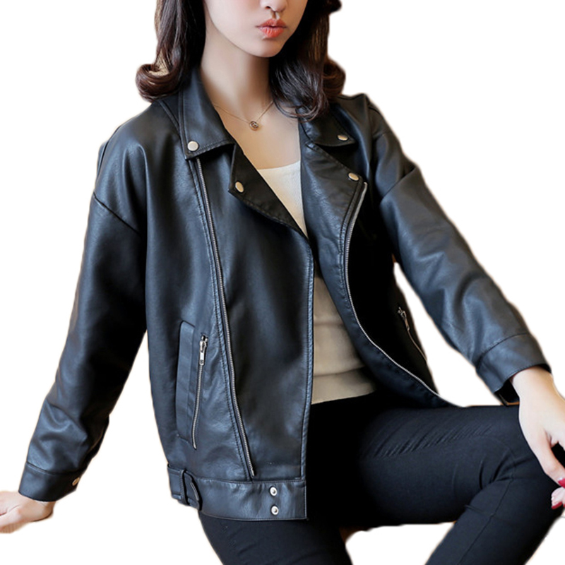 2017 Spring Autumn New Casual PU   Leather   Coat High Quality Turn-down Collar Zipper Female Jacket YP0550