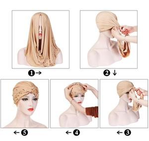 Image 4 - Muslim Women Beads Elastic Turban Hat Chemo Cap Hijab Arab Head Scarf Wrap Cover Beading Headscarf Knot Pleated Cap Hair Loss