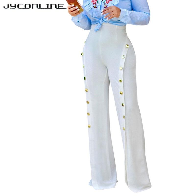 JYConline Women Wide Leg Pants High Waist Trousers Women 2017 Split Flare Pants Sexy Party Women Pants Button OL Long...
