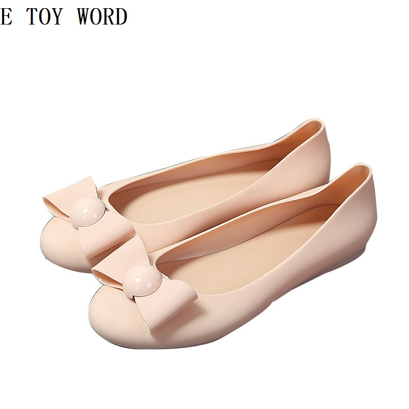 2018 new jelly shoes women spring, summer, shallow mouth han edition bowknot waterproof non-slip joker leisure sandals qiu dong season with plush slippers female students in the summer of 2017 the new han edition joker fashion wears outside a word