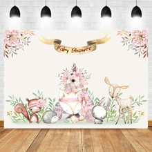 Mehofoto Woodland Forest Animal Photography Backdrops Flower Background Bear Fox Nowborn Baby Shower Party Photo