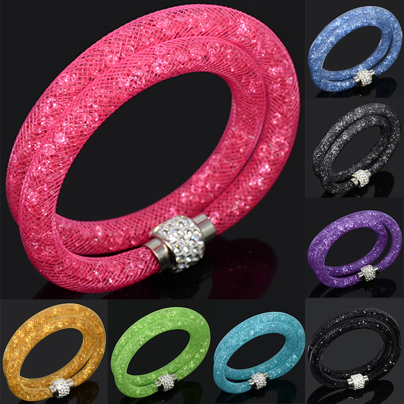 LFPU Hot Sale Mesh Net Double Bracelet Of Fashion Charm Crystal Bracelets For Women