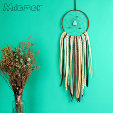 Vintage Enchanted Forest Indian Turquoise Dreamcatcher Handmade Dream Catcher Net With Feathers Decoration Ornament  D6012