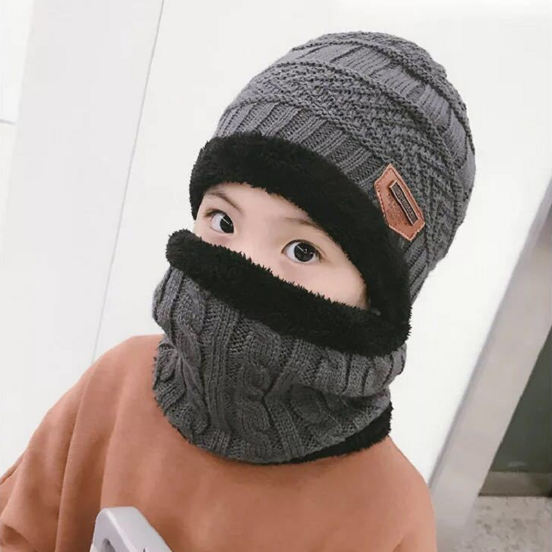 2018 Hot Child 2pcs Winter Balaclava Beanies Knitted Hat And Scarf For 3-10 Years Old Girl Boy Hats Students Hats Caps Ski Cap