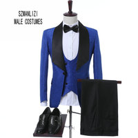2017 Nieuwste Jas Broek Ontwerp Klassieke Koningsblauw Bloem Wedding Suits voor Mannen Beste Man Blazer Bruidegom Pak Smokings Prom Party Kostuums