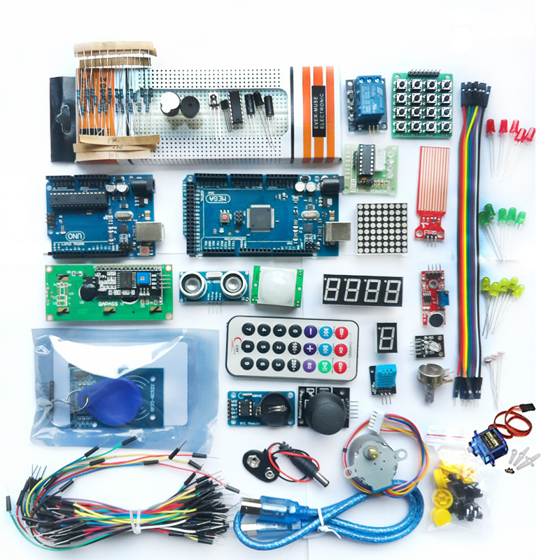 Mega2560 Starter Kit Motor Servo RFID Ultrasonic Ranging relay LCD for Arduino UNO R3 Kit Free Shipping