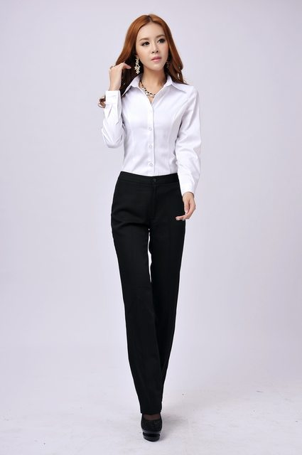 Newest Elegant Long Sleeved Formal Shirts Professional Business Women Office Work Wear Blouses S Tops Size L