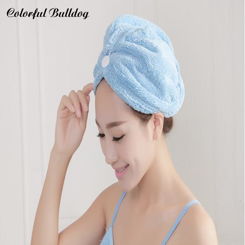 Colorful Shower Cap Wrapped Towels Microfiber Bathroom Hat Solid super Feel Free To Change Quickly Dry Hair Hat Bath Accessories