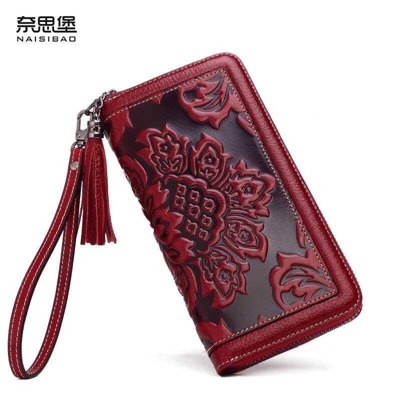 Women bag 2018 New genuine leather bag brands fashion quality Head layer cowhide embossed retro zipper wallets women clutch bag