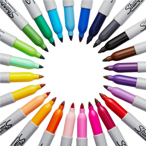Image 2 - 24Pcs/set Sharpie Oil Marker Pens Colored Markers Art Pen Permanent Colour Marker Pen Office Stationery 1mm Nib