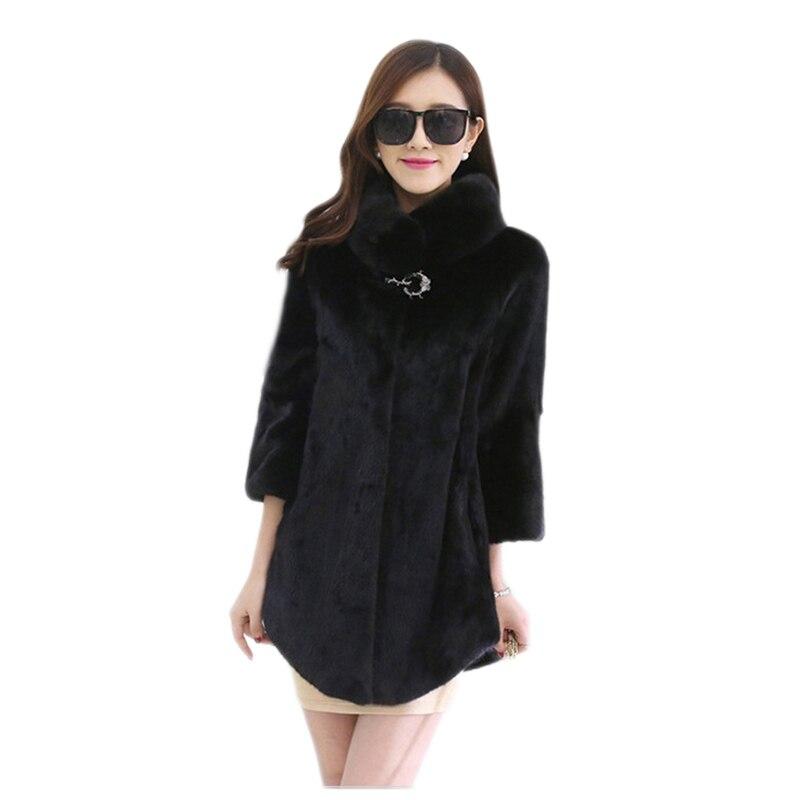 winter fur coat black White Casual fur winter coat new stand long section mink Fur female jacket