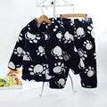 Nuevos niños de la llegada Niñas Gruesos pijamas camisón de Dormir 3 Capas de lana niñas Franela Pijamas Conjuntos de Pijamas para Niños niño