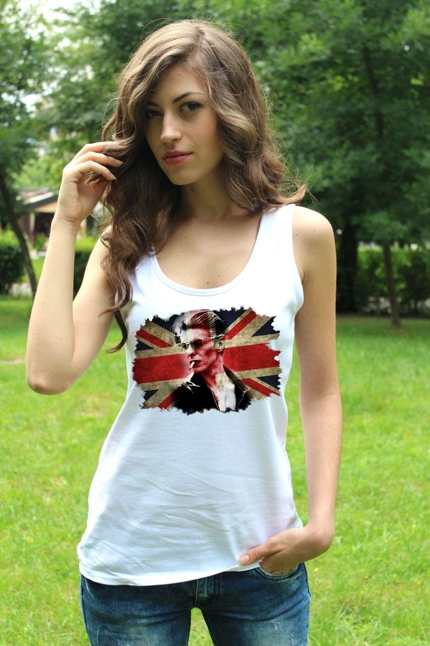 David Bowie 2 Tank Top Lady White New Vest Women Rock Band Shirt