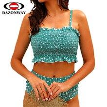 2019 New Women High Waist Bikini Sexy Print Swimsuit Female Split Set Ladies Swimwear Blue Orange S~XL