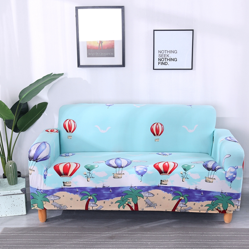 Blue Cartoon Universal Stretch Couch Corner Sofa