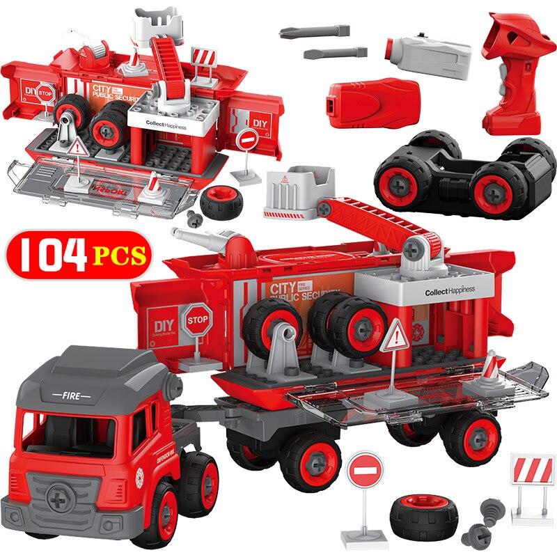 104 pièces département de la ville bricolage blocs de construction de grande taille avec lextérité Duploed RC voiture Police ingénierie camion brique jouets pour enfants