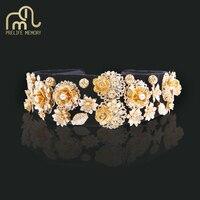 Prelife Memory Gold Color Sun Flower Hair Ornaments Baroque Luxurious Tiara Bridal Hair Accessories Women Hair