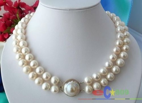 Hot selling free shipping******* Natural AAA +2ROW 10mm WHITE ROUND fw PEARL NECKLACE MABEHot selling free shipping******* Natural AAA +2ROW 10mm WHITE ROUND fw PEARL NECKLACE MABE