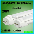 6pcs/lot led tube t8 1200mm 20W AC100-240V Top quality led bulbs tubes 96pcs SMD2835 Epistar Chip CE&ROHS 3-year warranty