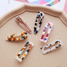 2019 Summer Colorful Leopard Resin Acetate Acrylic Hairpins For Women Vintage Hair Accessories Geometric Square Drop Clips