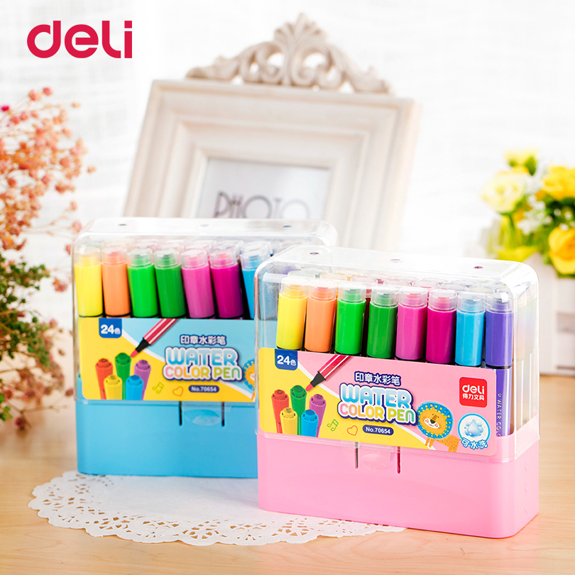 Deli 12 Colors/Set Painting stamp water color Pens double end Watercolor Markers for Sketch Drawing artist suppliesDeli 12 Colors/Set Painting stamp water color Pens double end Watercolor Markers for Sketch Drawing artist supplies