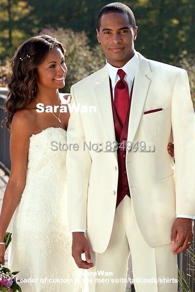 custom made ivoire de mariage costumes pour hommes sur mesure revers cran ivoire costumes fonc - Costume Mariage Blanc Cass