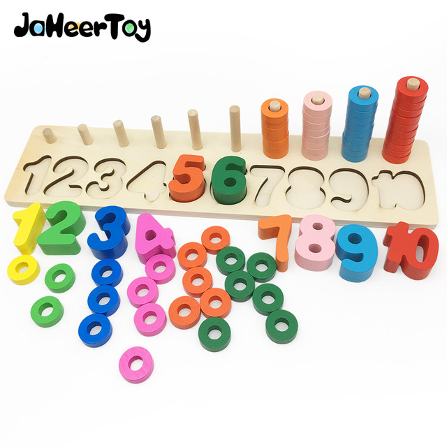 JaheerToy Math Wooden Toys for Children 1-10 Number Montessori Educational Toy Early Childhood Education Wood 3-4-5-6 Years Old