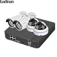 GADINAN 4CH 1080P POE NVR CCTV System Standard 48V POE 100m Distance Vandalproof Dome Outdoor IP Camera Kit Security System