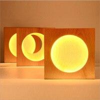 Полумесяца/полная луна настенный светильник бра деревянный настенный светильник творческий украшения светодиодный светильник настенный