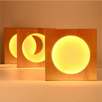 crescent/full moon Wall light sconce Wooden Wall Lamp Creative Decoration Led Wall Light bedroom table light night ZZD0003