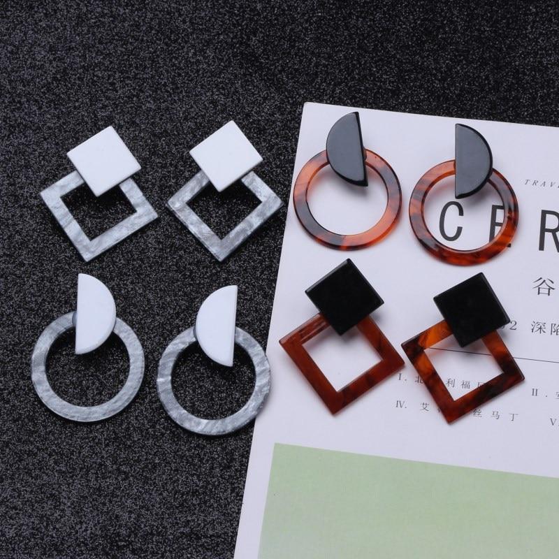 Fashion Jewelry Leopard Acrylic Resin Oval Dangle Earrings  1