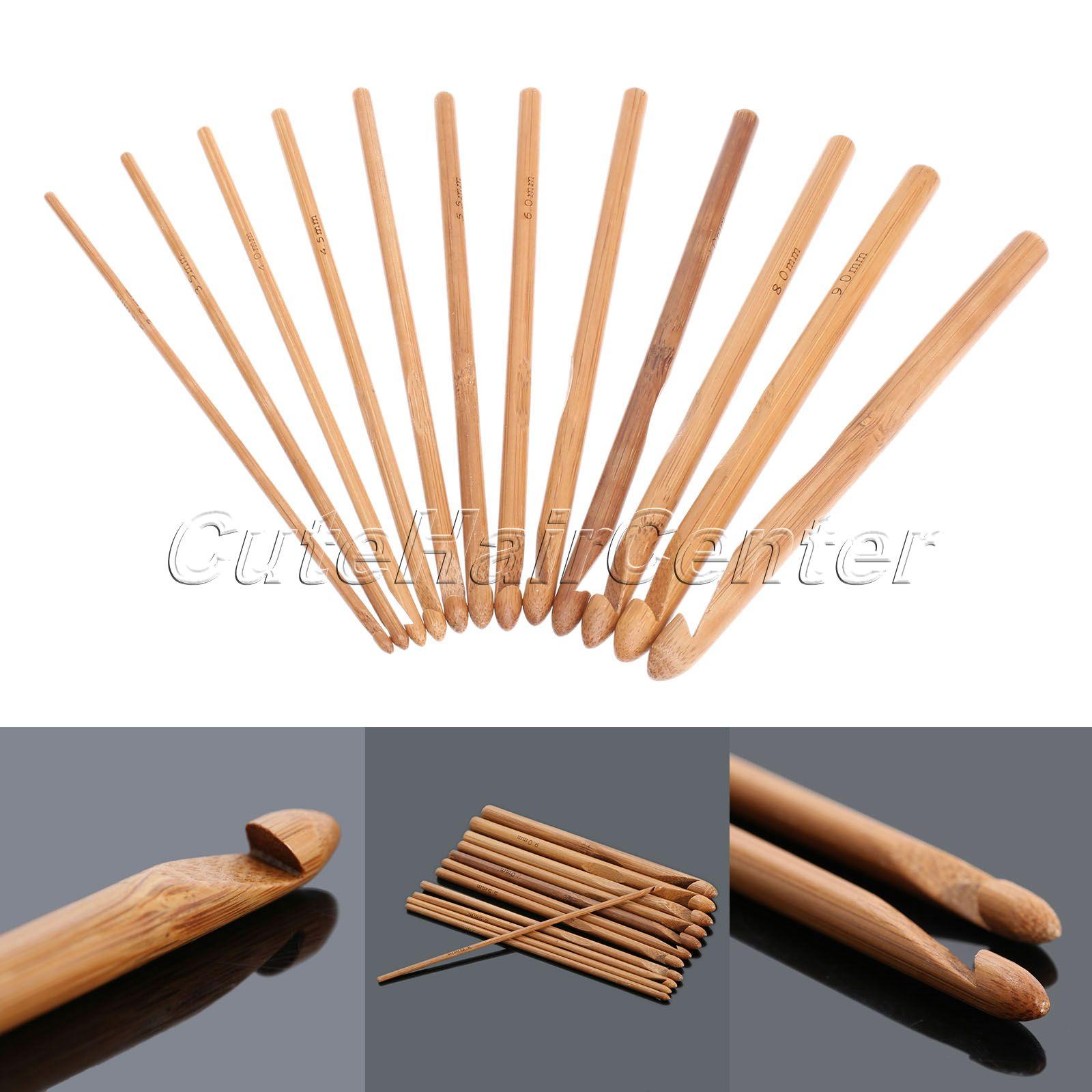 "12 Size Bamboo 6/"" Handle Crochet Hook Knit Weave Yarn Craft Knitting Needle Set"