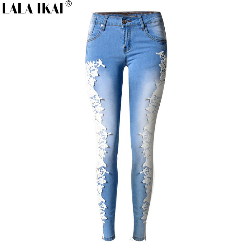 Lala Ikai Side Lace Patchwork Jeans Women Pencil Full