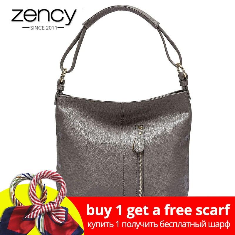Zency 100% пояса из натуральной кожи сумки вместительные для женщин сумка модные женские Crossbody Кошелек Tote сумки черный серый