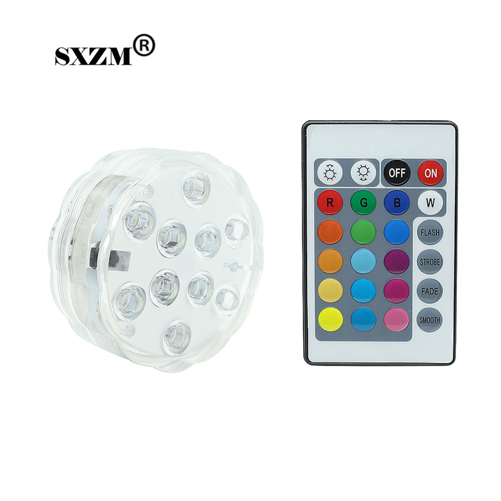 Humor Sxzm 4w Rgb Color Aquarium Led Light Battery Operated 10 Leds With 24 Key Ir Remote Controller Ip68 Waterproof Pool Fishbowl Bracing Up The Whole System And Strengthening It Led Underwater Lights