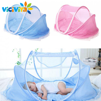 Baby Crib Baby Bed With Pillow Mat Set Portable Foldable Crib With Netting Newborn Infant Bedding